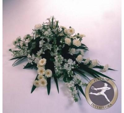 Rouwarrangement met witte bloemen (excl. Lint)