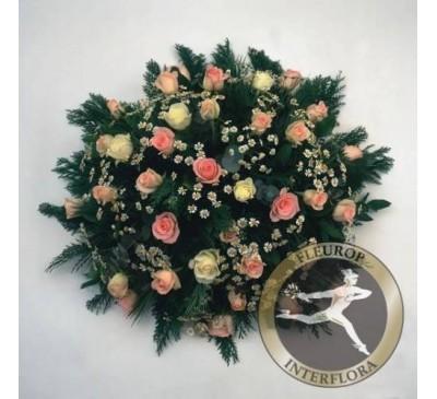 Rouwarrangement met witte en roze rozen (excl. Lint)